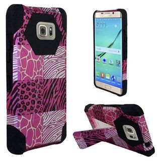 Insten Hot Pink/Black Exotic Skins Hard PC/ Silicone Dual Layer Hybrid Case Cover with Stand for Samsung Galaxy S7 Edge