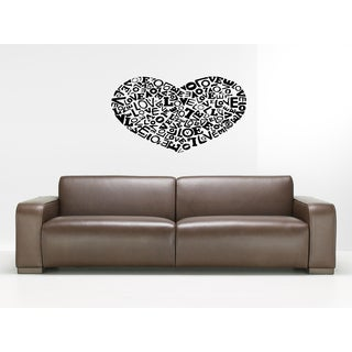 A set of words of love HEART Wall Art Sticker Decal