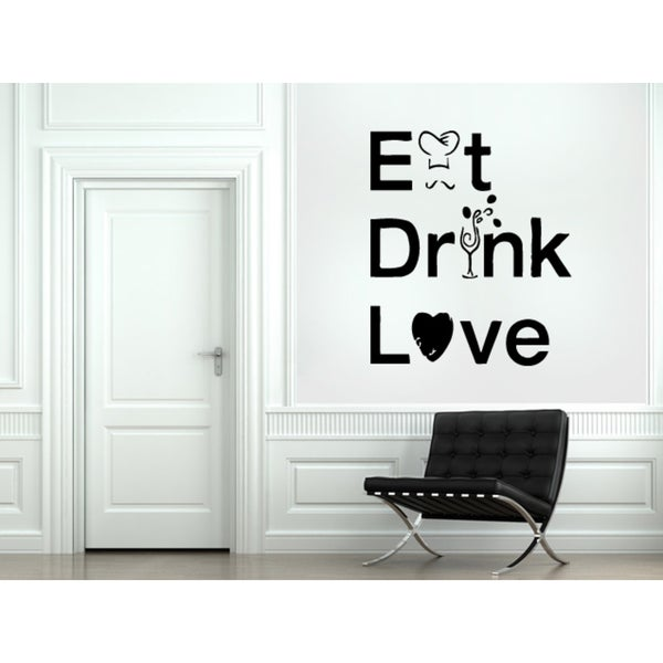 Eat Drink Love quote Wall Art Sticker Decal  sc 1 st  Overstock.com & Shop Eat Drink Love quote Wall Art Sticker Decal - Free Shipping ...