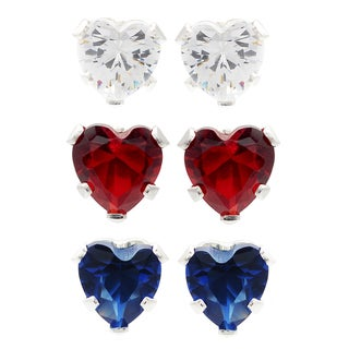 Journee Collection Sterling Silver Cubic Zirconia Set of 3 Heart Stud Earrings