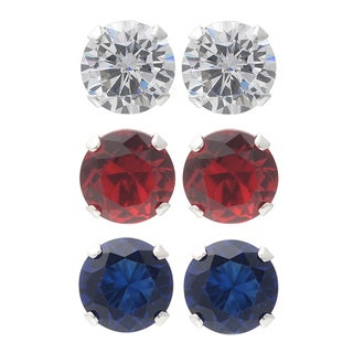 Journee Collection Sterling Silver Cubic Zirconia Set of 3 Round Stud Earrings