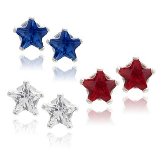 Journee Collection Sterling Silver Cubic Zirconia Set of 3 Star Stud Earrings