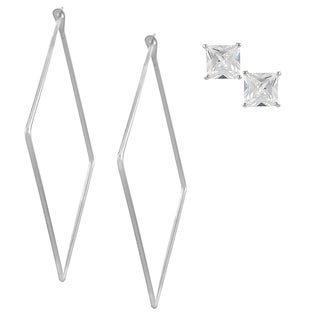 Journee Collection Sterling Silver Set of 2 Earrings
