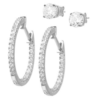 Journee Collection Sterling Silver Cubic Zirconia Set of 2 Earrings