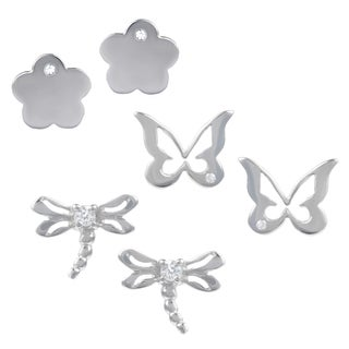 Journee Collection Sterling Silver Cubic Zirconia Set of 3 Spring Stud Earrings