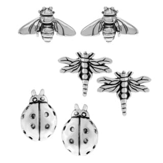 Journee Collection Sterling Silver Set of 3 Insect Stud Earrings