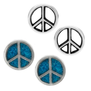 Journee Collection Sterling Silver Set of 2 Peace Stud Earrings