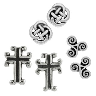 Journee Collection Sterling Silver Set of 3 Celtic Stud Earrings