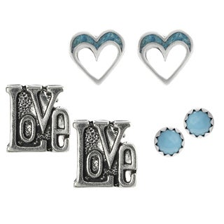 Journee Collection Sterling Silver Turquoise Set of 3 Stud Earrings