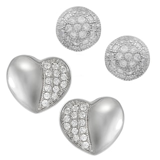 Journee Collection Sterling Silver Cubic Zirconia Set of 2 Stud Earrings