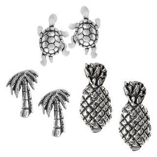 Journee Collection Sterling Silver Set of 3 Tropical Stud Earrings