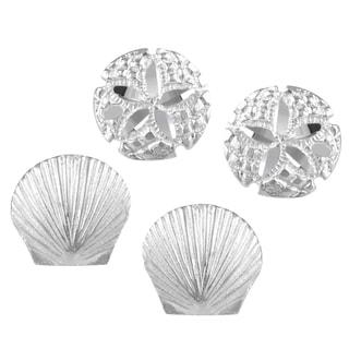 Journee Collection Sterling Silver Set of 2 Ocean Stud Earrings