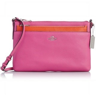 Coach Fuschia Swingpack with Pop-Up Pouch Embossed Leather