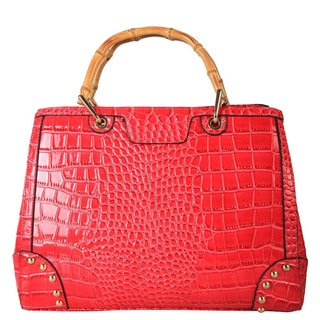 Diophy Crocodile Faux Leather Wood Handles Snap Closure Handbag
