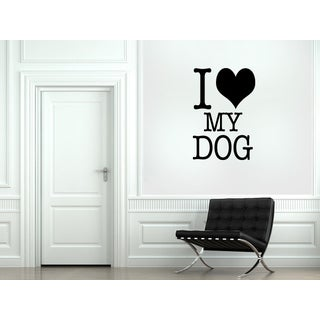 Heart and a quote I love my dog Wall Art Sticker Decal