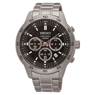 Seiko Men's SKS519 Stainless Steel Chronograph Watch with a Black Dial and 100M Water Resistance