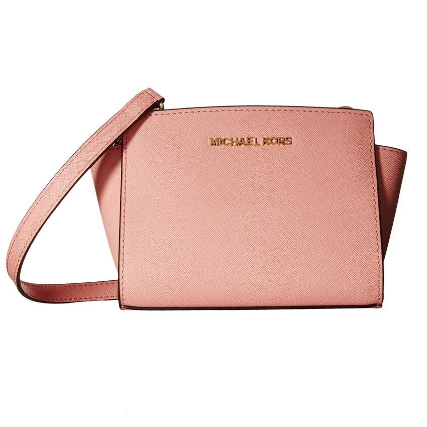michael kors pink leather mini selma crossbody bag
