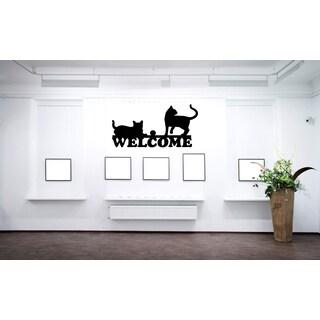 Welcome Cats Wall Art Sticker Decal