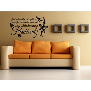 Caterpillar Became a Butterfly Wall Art Sticker Decal