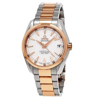 Omega Men's 231.20.39.21.02.001 'AquaTerra' Silver Dial Two Tone Swiss Automatic Watch|https://ak1.ostkcdn.com/images/products/11524977/P18473468.jpg?impolicy=medium