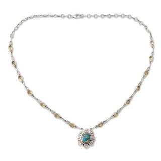 Sterling Silver 'Golden Sky Halo' Citrine Turquoise Necklace (India)