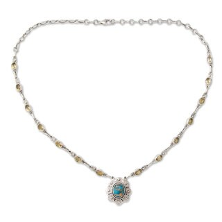 Handmade Sterling Silver 'Golden Sky Halo' Citrine Turquoise Necklace (India)