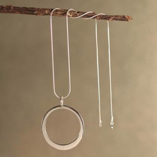 Handcrafted Sterling Silver 'Perfect Moon' Necklace (Peru)