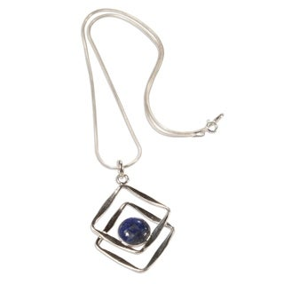 Handcrafted Sterling Silver 'Modern Inca' Lapis Lazuli Necklace (Peru)