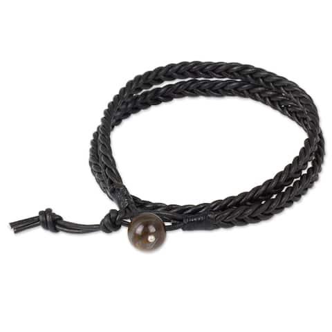 handmade Men's Leather Double Ebony Tiger's Eye Bracelet (Thailand)