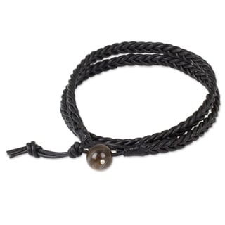 Men's Leather 'Double Ebony' Tiger's Eye Bracelet (Thailand)