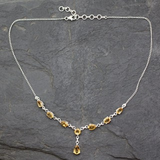 Handmade Sterling Silver 'Golden Princess' Citrine Necklace (India)