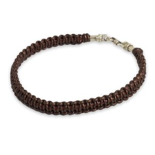 Men's Leather 'Essence of Style in Brown' Bracelet (Thailand)