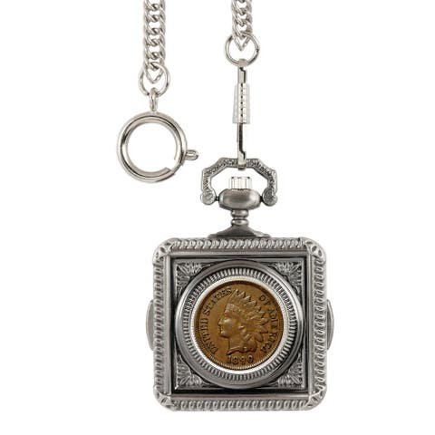 American Coin Treasures 1800's Indian Penny Pocket Watch - Silver