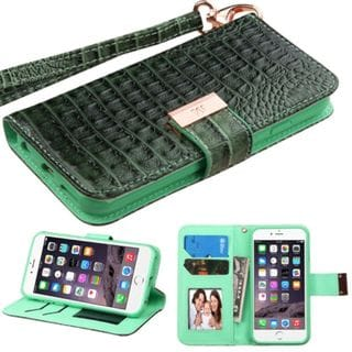 Insten Crocodile Leather Case Cover Lanyard with Stand/ Wallet Flap Pouch/ Photo Display for Apple iPhone 6 Plus/ 6s Plus