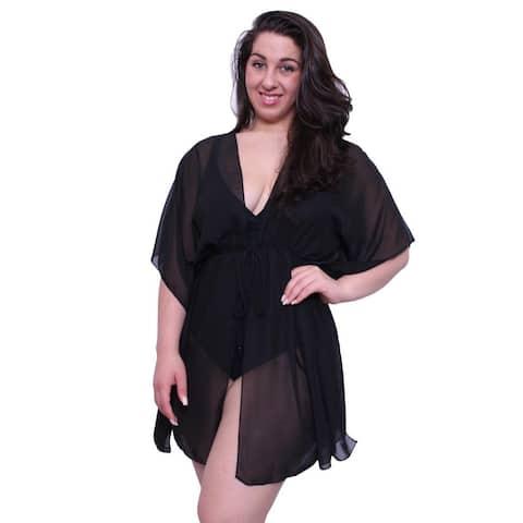 Plus Size Women's Beach Dress Cover Up Chiffon Swimwear Open Front Swimsuit