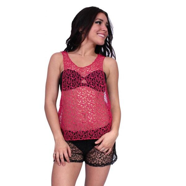 Women  x27 s Juniors Cover Up Crochet Beach Tank Top Swimwear Racer Back  Bikini e884628ff