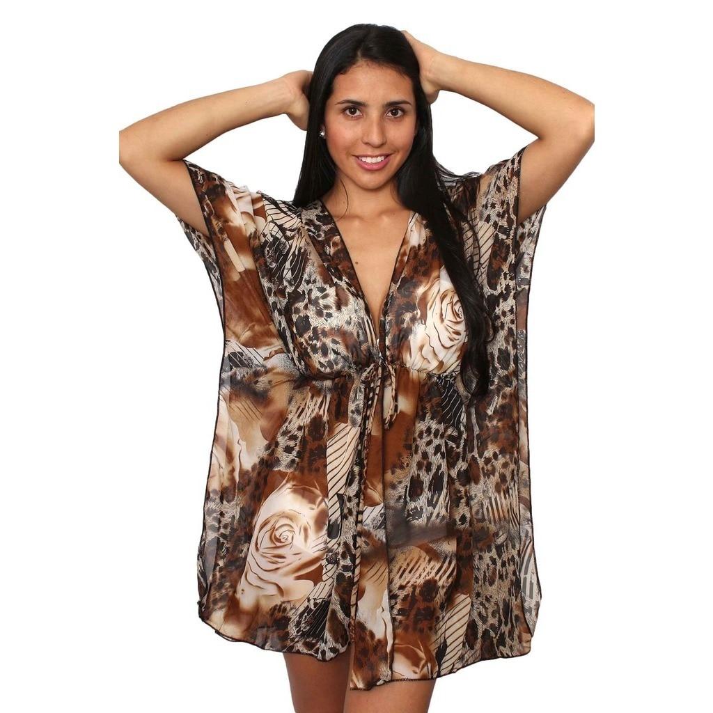 Plus Size Women\'s Beach Dress Cover Up Printed Chiffon Swimwear Open Front