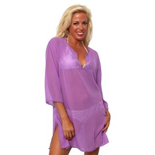 Women's Beach Dress Cover Up Chiffon Long Sleeve Tunic V Neck Swimwear