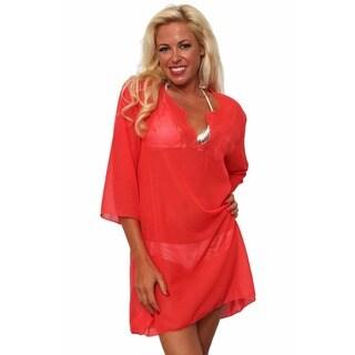 Women's Beach Dress Cover Up Chiffon Long Sleeve Tunic V Neck Swimwear