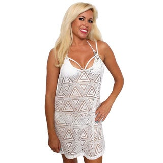 Women's Beach Dress Cover Up Strappy-Front Crochet Beach Tank Swimwear