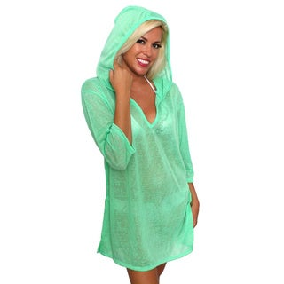 Women's Beach Dress Cover Up V-Neck Hoodie Swimwear Pullover Juniors