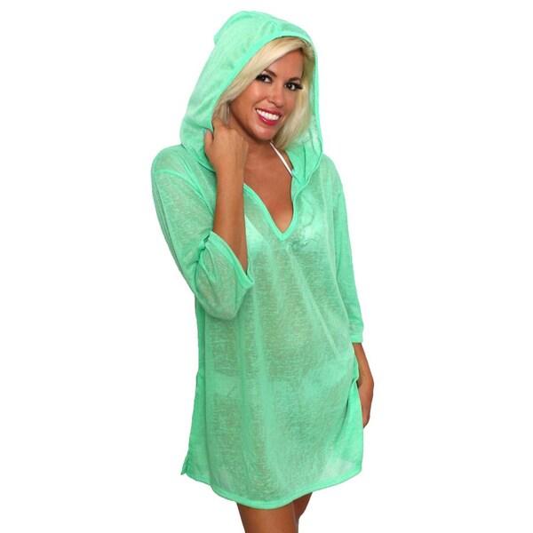 Women's Beach Dress Cover Up V-Neck Hoodie Swimwear Pullover Juniors