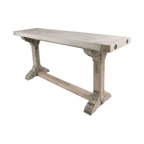 Dimond Home Pirate Concrete and Wood Dining Table with Waxed Atlantic Finish