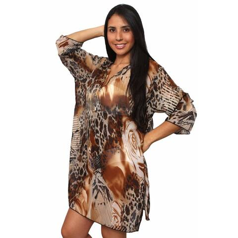 Plus Size Women's Beach Dress Cover Up Printed Long Sleeve Chiffon Swimwear