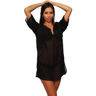 Women's Plus Size Beach Dress Cover Up Chiffon Long Sleeve Tunic Swimwear