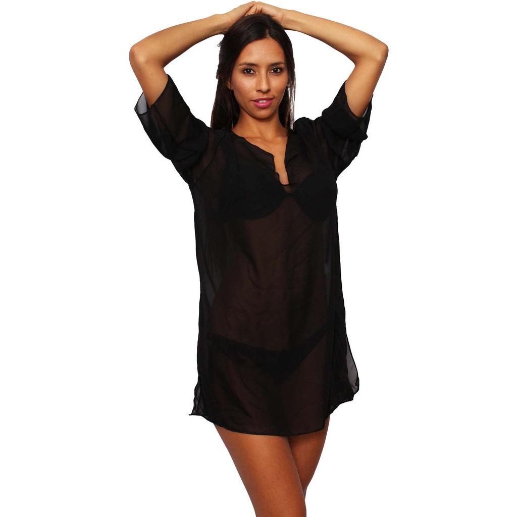 Women\'s Plus Size Beach Dress Cover Up Chiffon Long Sleeve Tunic Swimwear