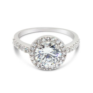 Gioelli Sterling Silver Round-cut Cubic Zirconia Halo Bridal Engagement Ring