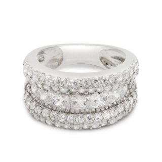 Gioelli Sterling Silver Cubic Zirconia Channel Pave Ring
