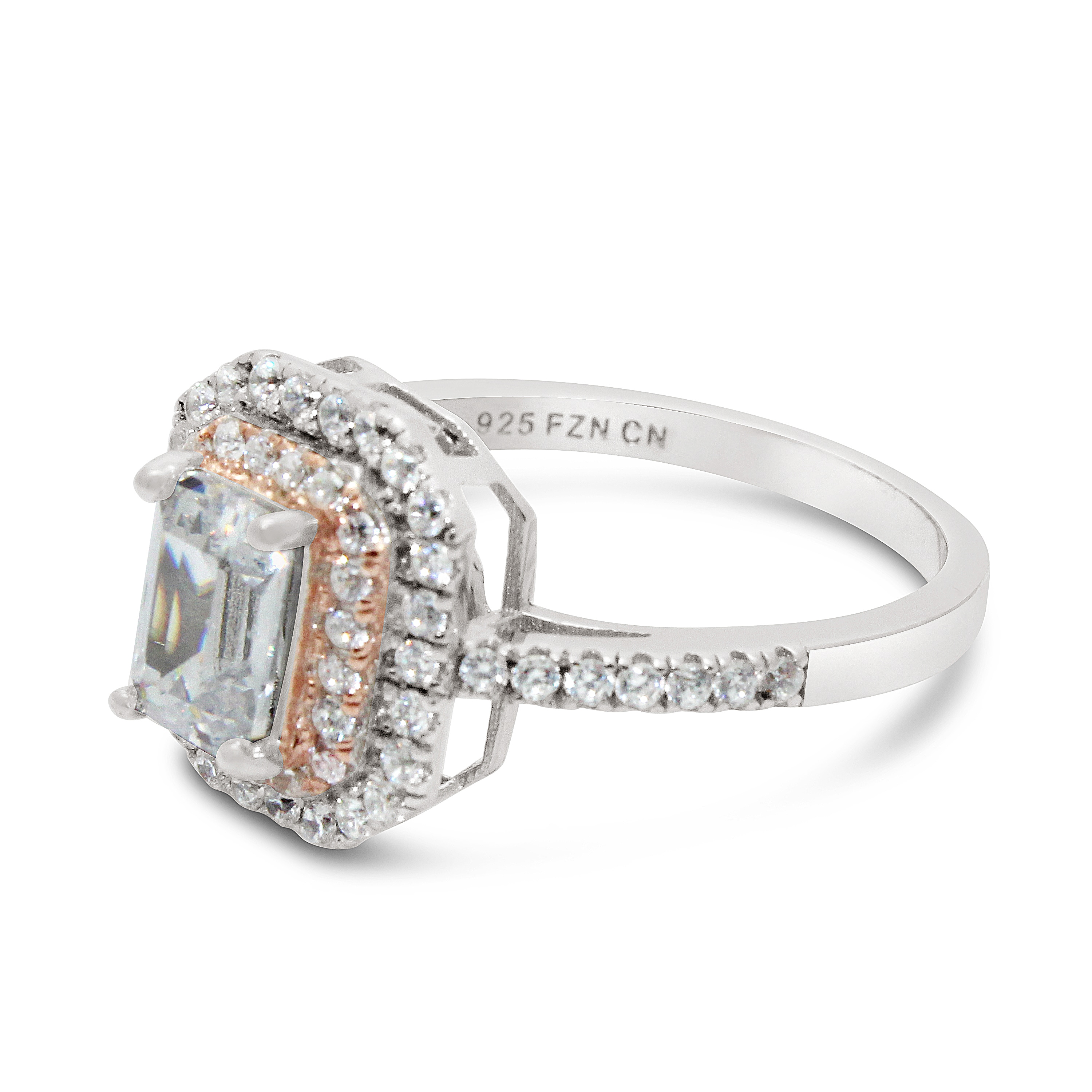Gioelli Sterling Silver Two-tone Emerald-cut Cubic Zirconia Pave Ring