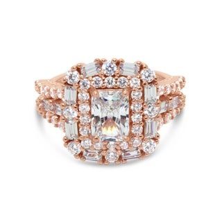 Gioelli Rose Gold over Silver Emerald-cut Cubic Zirconia Ring